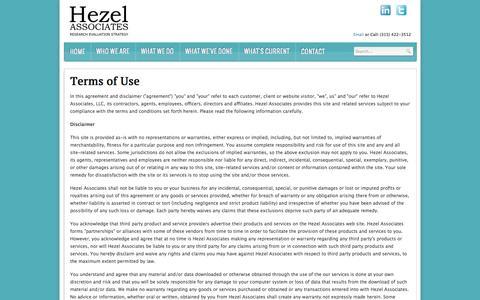 Screenshot of Terms Page hezel.com - Hezel Associates   Terms of Use - captured Oct. 3, 2014
