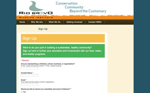 Screenshot of Signup Page rbwi.org - Sign Up : :: Rio Bravo Wildlife Institute :: - captured Oct. 9, 2014