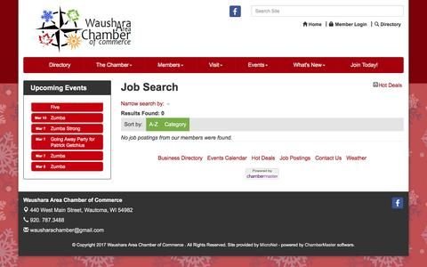 Screenshot of Jobs Page wausharachamber.com - Job Search - Waushara Area Chamber of Commerce ,WI - captured March 8, 2017