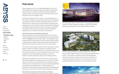 Screenshot of Case Studies Page abyssglobal.com - Scott Brownrigg — Abyss Global Ltd. - International business development for architecture, engineering and construction - captured Feb. 5, 2016