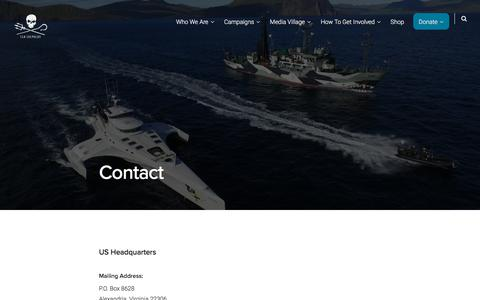 Screenshot of Contact Page seashepherd.org - Contact – Sea Shepherd - captured Jan. 26, 2020