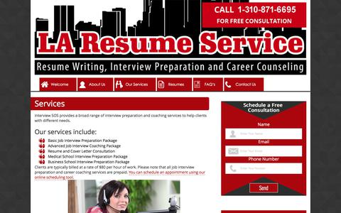 Screenshot of Services Page laresumeservice.com - Services - Interview SOS - captured Sept. 9, 2017