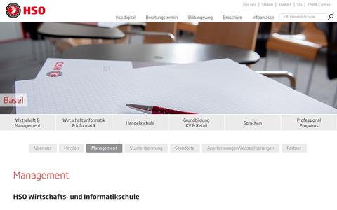 Screenshot of Team Page hso.ch - Management | HSO Wirtschaftsschule Schweiz - captured Sept. 26, 2018