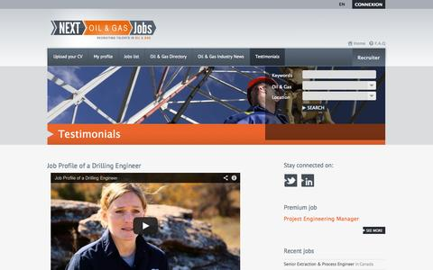 Screenshot of Testimonials Page nextoilgasjobs.com - Testimonials - Next Oil Gas Jobs - captured Oct. 7, 2014