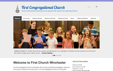 Screenshot of Menu Page fcc-winchester.com - First Congregational Church of Winchester - captured Nov. 3, 2014