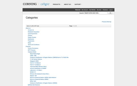 Screenshot of Site Map Page cellgro.com - Cellgro Cell Culture Media and Cell Culture Reagents - captured Oct. 4, 2014