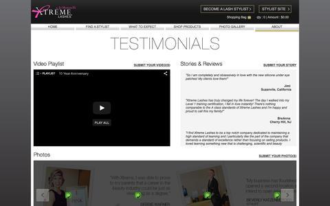 Screenshot of Testimonials Page xtremelashes.com - Consumer Testimonials - captured Oct. 26, 2015