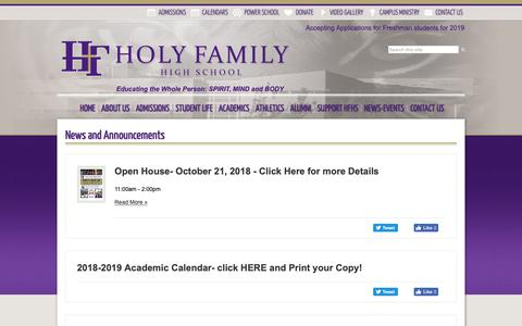 Screenshot of Press Page holyfamilyhs.com - Holy Family High School - captured Sept. 29, 2018