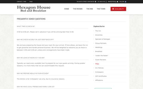 Screenshot of FAQ Page hexagonhouse.com - West Michigan Bed and Breakfast // The Hexagon House - captured Dec. 4, 2018