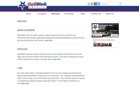 Screenshot of Services Page qwikwash.com - Services - QwikWash America! - captured Jan. 14, 2016