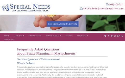 Screenshot of FAQ Page specialneeds-law.com - You've Got Questions About Special Needs? Well, We've Got the Answers - captured Oct. 18, 2018