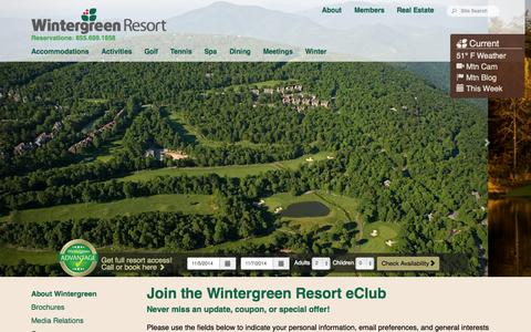 Screenshot of Signup Page wintergreenresort.com - Wintergreen Resort: Premier Blue Ridge Mountain Ski, Golf, Tennis, Spa and Family Vacation Resort in Virginia - captured Nov. 5, 2014