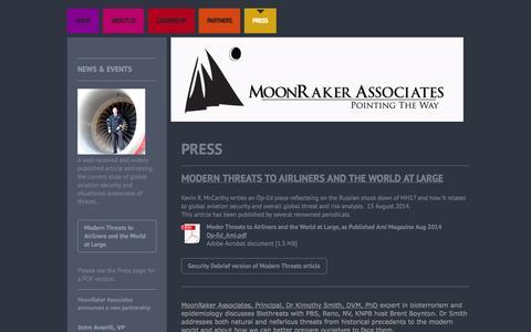 Screenshot of Press Page moonrakerllc.com - Latest news about MoonRaker Associates - captured Oct. 7, 2014