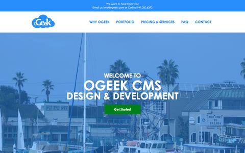 Screenshot of Home Page ogeek.com - oGeek: Custom Websites + CMS - captured March 13, 2016