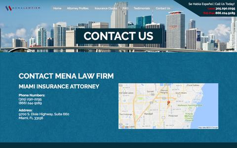 Screenshot of Contact Page menalawfirm.com - Contact Mena Law Firm | Miami Insurance Attorneys - captured Aug. 10, 2016