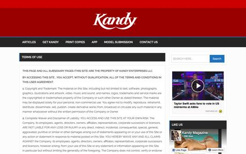 Screenshot of Terms Page kandymag.com - Terms of Use | Kandy Men's Magazine - Hot Girls and Entertainments News for Men - captured Nov. 15, 2018