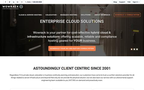 Screenshot of Home Page wowrack.com - Enterprise Managed Server Hosting & Cloud Solutions | Wowrack - captured Feb. 25, 2018