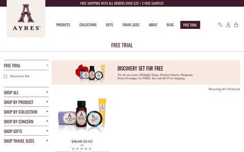 Screenshot of Trial Page ayresbeauty.com - FREE TRIAL - AYRES Beauty - captured Nov. 6, 2018