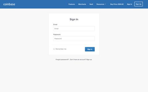 Screenshot of Login Page coinbase.com - Coinbase - Your Hosted Bitcoin Wallet - captured Oct. 28, 2014