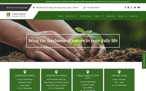 Screenshot of Contact Page thelivinggreens.com - LIVING GREENS | Rooftop Farming, Organic Farming, Rooftop Organic Farming Kit, Indoor and Outdoor Living Green Walls in Jaipur Rajasthan India - captured Jan. 28, 2020