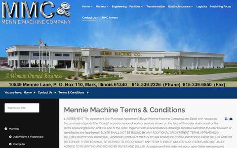 Screenshot of Terms Page mennies.com - Mennie Machine Terms & Conditions - captured Sept. 20, 2018