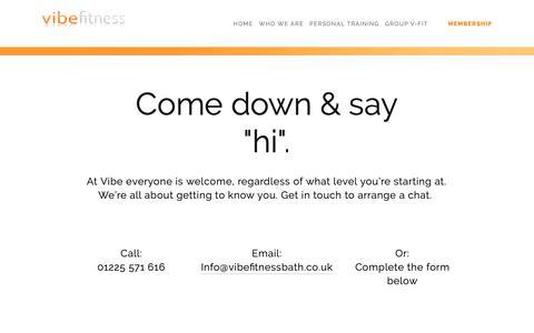 Screenshot of Signup Page vibefitnessbath.co.uk - Membership — Vibe Fitness - captured Oct. 18, 2018