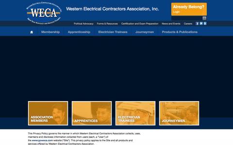 Screenshot of Privacy Page goweca.com - WECA Home - captured Feb. 14, 2016