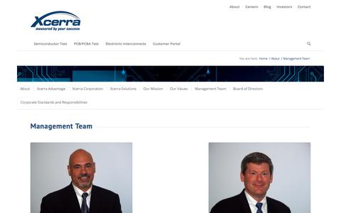 Screenshot of Team Page xcerra.com - Experienced Leadership - Management Team - captured July 13, 2018