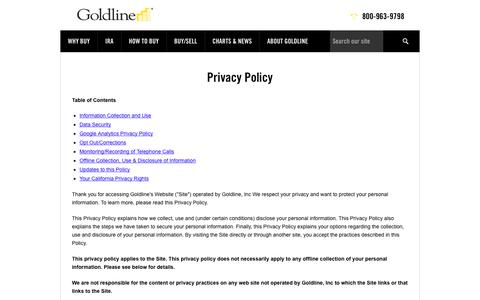 Privacy Policy | Goldline Buy Gold and Silver at Goldline