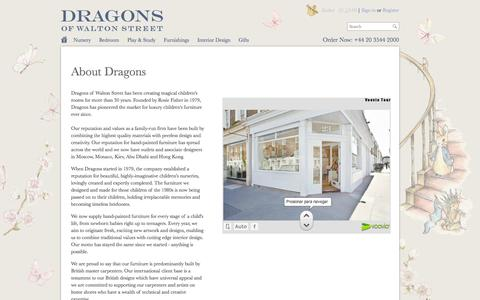 Screenshot of About Page dragonsofwaltonstreet.com - Luxury Children's Furniture & Interiors | Dragons of Walton Street | About Dragons - captured Sept. 30, 2014