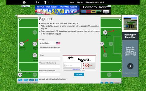 Screenshot of Signup Page tacticalfootball.com - Tactical Football - captured Aug. 8, 2015