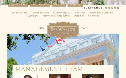 Screenshot of Team Page thewillcox.com - MANAGEMENT TEAM – The Willcox - captured July 30, 2017