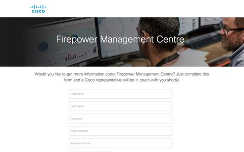 Screenshot of Landing Page cisco.com - Firepower Management Centre - captured Sept. 19, 2018