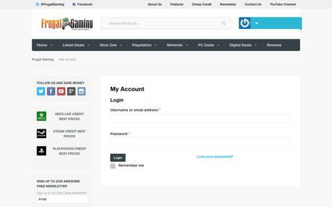 Screenshot of Login Page frugalgaming.co.uk - My Account | Frugal Gaming - captured Sept. 2, 2018