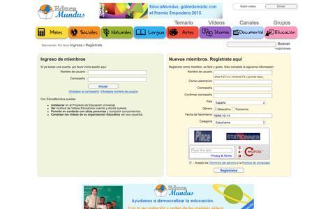 Screenshot of Signup Page educamundus.org - Videos educativos. EducaMundus - Registrarse - captured July 11, 2016