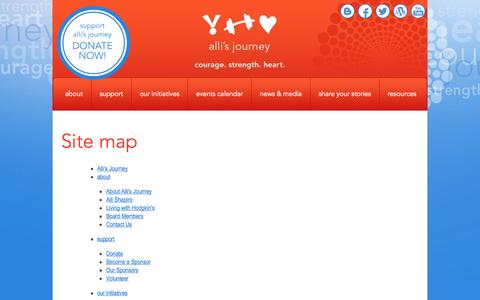 Screenshot of Site Map Page allisjourney.ca - Site map | Alli's Journey - captured Sept. 30, 2014