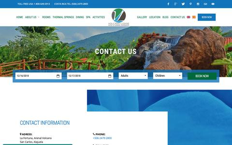 Screenshot of Contact Page volcanolodge.com - Volcano Lodge, Hotel & Thermal Experience - captured Dec. 16, 2018