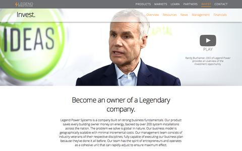Screenshot of Press Page Team Page legendpower.com - Invest - Legend Power Systems Inc. - captured July 13, 2018