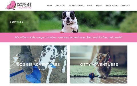 Screenshot of Services Page pupsiclesdogcare.com - Pupsicles Dog Care | Pet Care Service Denver, Colorado (CO) - Pupsicles Dog Care - captured Dec. 14, 2015