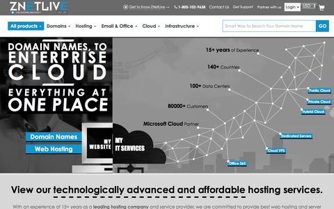 Screenshot of Home Page znetlive.com - Cloud Hosting, Web Hosting, Domains, VPS & Dedicated Servers - ZNetLive - captured Jan. 10, 2016