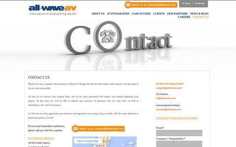 Screenshot of Contact Page allwaveav.com - Allwave- Contact Us Audio Visual Consultants  IT consultants  Audio Visual Technician  AV System Integrators. - captured Oct. 4, 2014