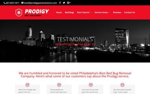 Screenshot of Testimonials Page prodigypestsolutions.com - Testimonials | Philadelphia Bed Bug Exterminator | Prodigy Pest Solutions - captured May 22, 2017