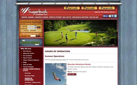 Screenshot of Hours Page sugarbush.com - Sugarbush Resort Ski Lift Hours of Operation - captured Nov. 3, 2014