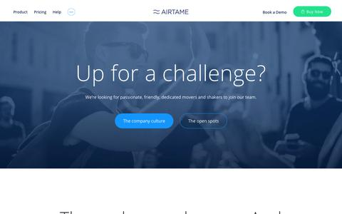 Screenshot of Jobs Page airtame.com - Join the Airtame community! | Airtame - captured Sept. 7, 2017