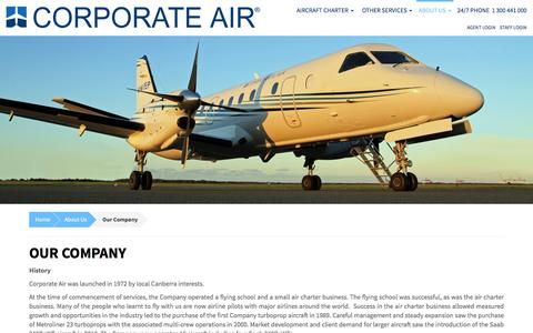 Screenshot of About Page corporate-air.com.au - Our Company | Corporate Air - captured Dec. 12, 2015
