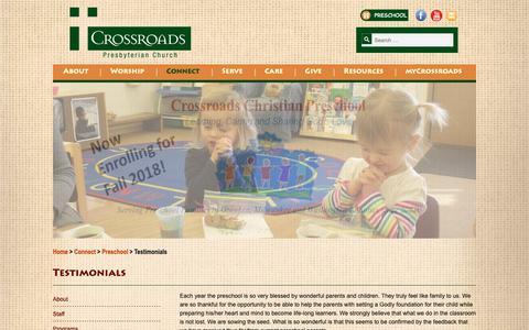 Screenshot of Testimonials Page crossroadspres.org - Testimonials - Crossroads - captured Sept. 30, 2018