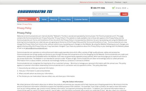 Screenshot of Privacy Page communicatortel.com - Privacy Policy - captured Oct. 2, 2014