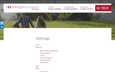 Screenshot of Site Map Page wilkinsonwoodward.co.uk - Sitemap- Wilkinson Woodward Solicitors - captured Aug. 17, 2016