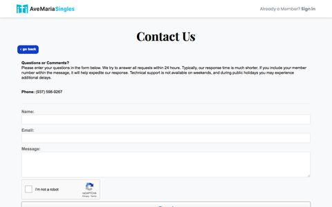 Screenshot of Contact Page avemariasingles.com - Where devout Catholic singles find their match - captured Aug. 29, 2019