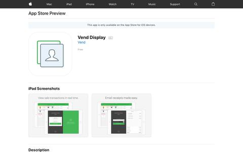 Vend Display on the AppStore